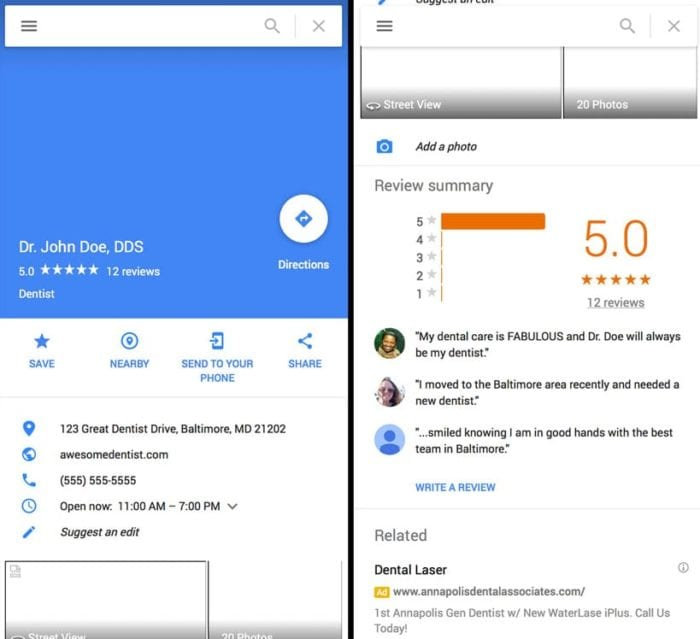 google review mobile example